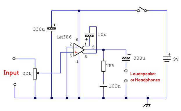В приведенной выше схеме LM386
