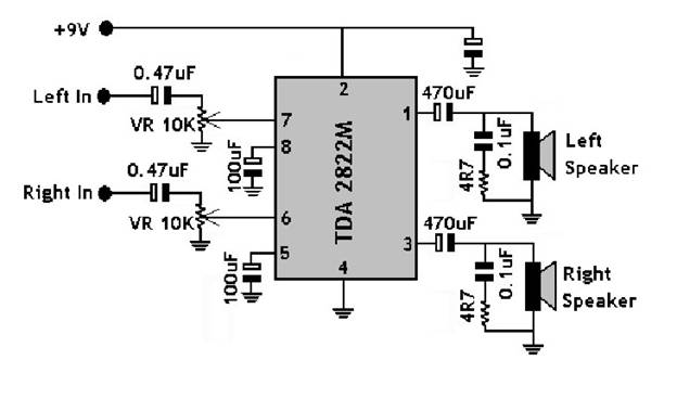 TDA2822M двойной усилитель