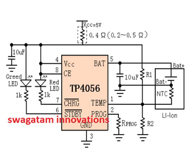 Литий-ионная схема зарядного устройства с использованием IC TP4056 - Постоянный ток, постоянное напряжение
